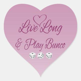Largo vivo y juego Bunco Pegatina En Forma De Corazón