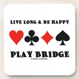 Largo vivo y sea puente feliz del juego (cuatro ju posavasos de bebidas