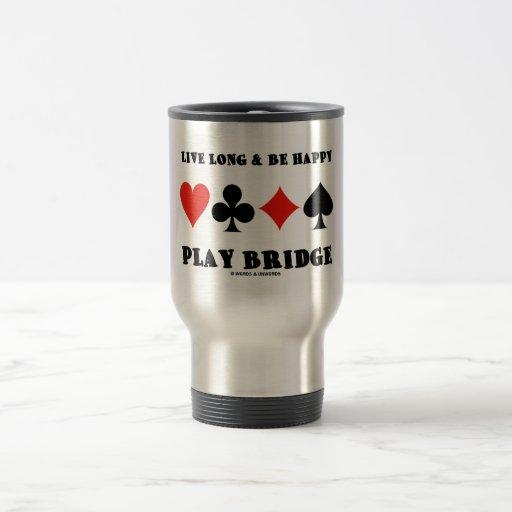 Largo vivo y sea puente feliz del juego (cuatro ju tazas de café