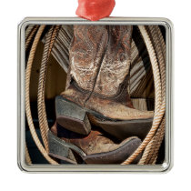 Lariats and Cowboy Cowgirl Boots Metal Ornament