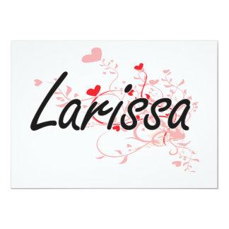 Larissa Artistic Name Design with Hearts 5x7 Paper Invitation Card