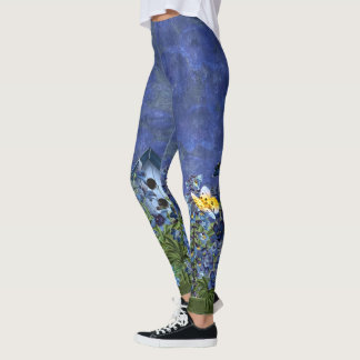 Larkspur Garden on Blue Watercolor Wash Leggings