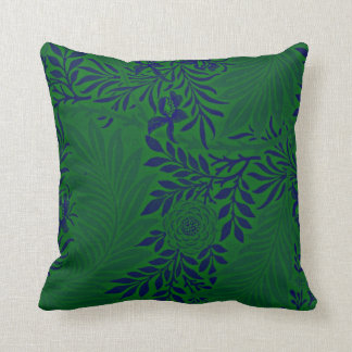Larkspur in Vibrant Green and Blue Throw Pillow