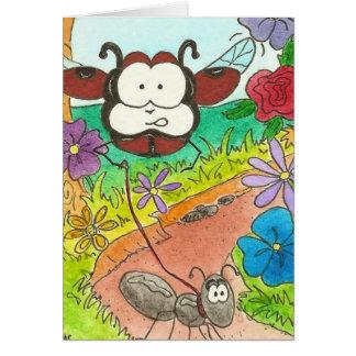 Larry la mariquita y los insectos de las hormigas tarjeta pequeña