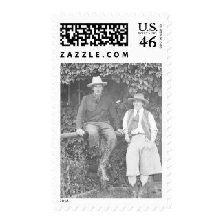 Larry Larom and a women posing Stamps