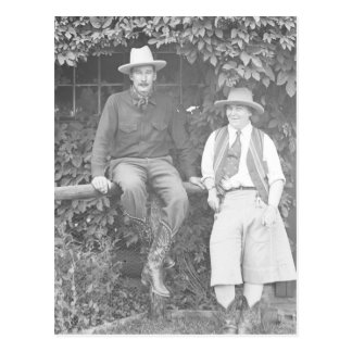 Larry Larom and a women posing. Postcard