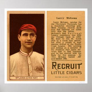 Larry McLean Reds Baseball 1912 Poster