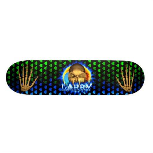 Larry skull blue fire Skatersollie skateboard.