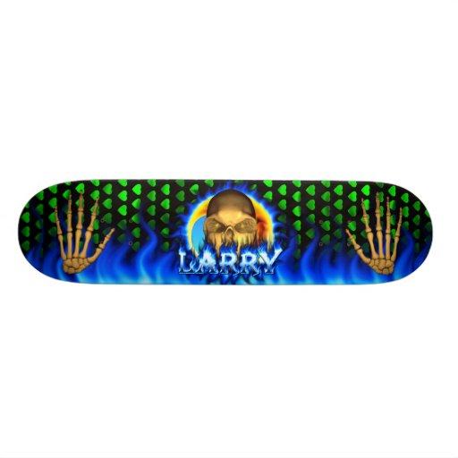 Larry skull blue fire Skatersollie skateboard. Skate Board Decks