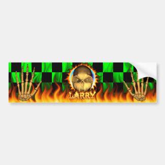 Larry skull real fire and flames bumper sticker de