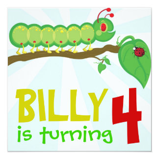 Larry the Caterpillar Birthday Party Invitation