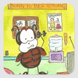 Larry the Ladybug Bee Strong Square Sticker