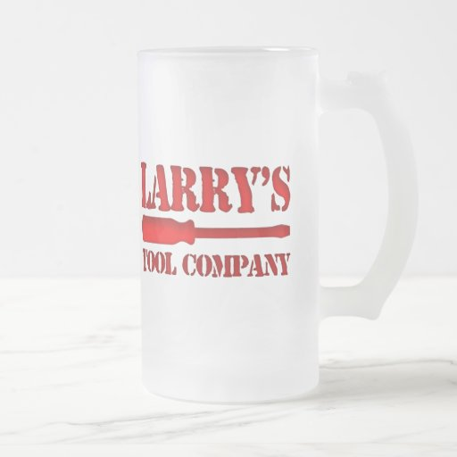 Larry's Tool Company Frosted Glass Beer Mug