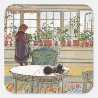 Larsson: Flores en el Windowsill Pegatina Cuadrada