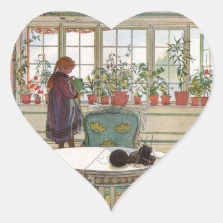 Larsson: Flores en el Windowsill Pegatina En Forma De Corazón