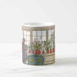 Larsson: Flores en el Windowsill Tazas De Café
