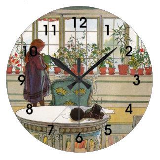 Larsson: Flowers on a Windowsill artwork Wall Clock