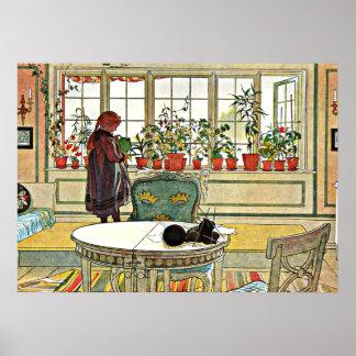 Larsson - Flowers on a Windowsill Poster