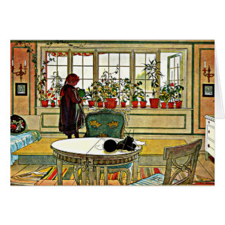 Larsson - Flowers on the Windowsill Card