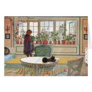 Larsson: Flowers on the Windowsill Greeting Card