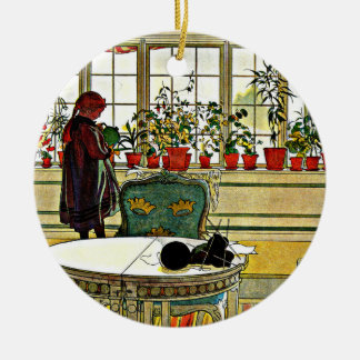 Larsson - Flowers on the Windowsill Ceramic Ornament