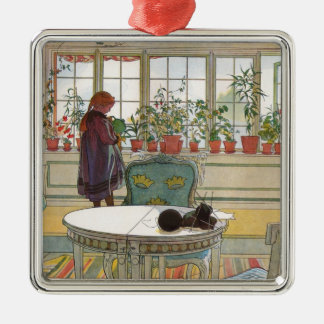 Larsson: Flowers on the Windowsill Silver-Colored Square Decoration