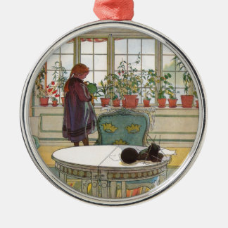 Larsson: Flowers on the Windowsill Silver-Colored Round Decoration