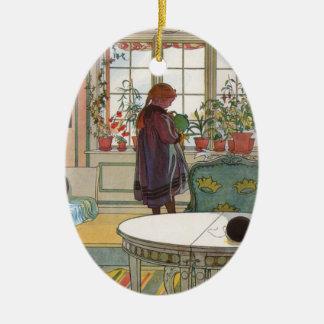 Larsson: Flowers on the Windowsill Ceramic Oval Decoration
