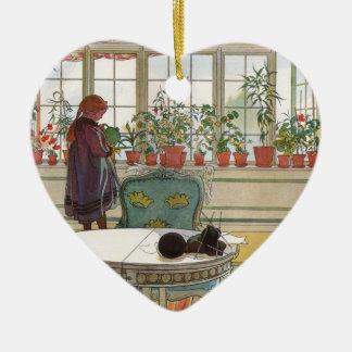 Larsson: Flowers on the Windowsill Ceramic Heart Decoration