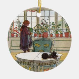 Larsson: Flowers on the Windowsill Round Ceramic Decoration