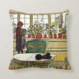 Larsson - Flowers on the Windowsill Throw Pillow
