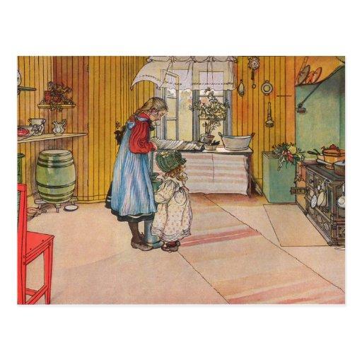 Larsson: La cocina, arte Postales
