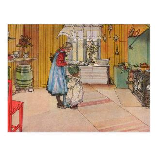 Larsson: La cocina, arte Tarjetas Postales