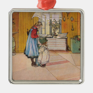Larsson: The Kitchen, Art Silver-Colored Square Decoration