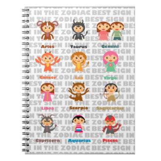 Las 12 muestras del zodiaco libro de apuntes con espiral