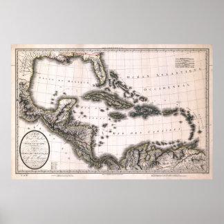 Las 1806 Antillas y mapa del golfo Póster