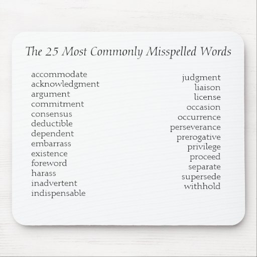 Las 25 palabras lo más comúnmente posible deletrea tapete de ratón