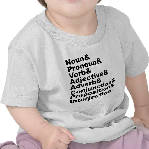 Las 8 categorías gramaticales en la lengua inglesa camiseta
