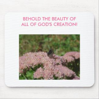 Las abejas flor de Butterfy y de Sedum BEHOLD el Alfombrillas De Raton