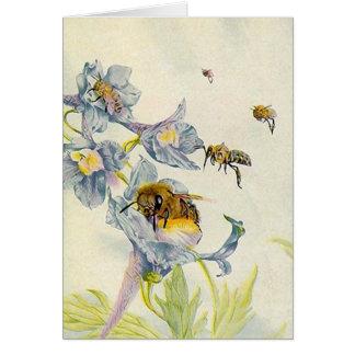 Las abejas preciosas de las flores de la correhuel tarjetas