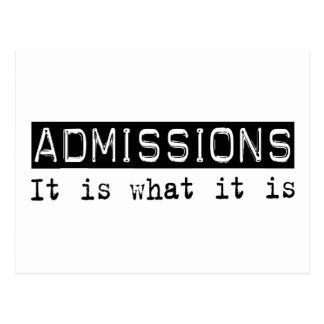 Las admisiones es postales