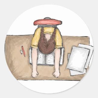 Las aflicciones del estudiante pegatina redonda