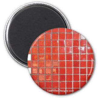 Las aguas termales, rojo de AR tejan los regalos c Imán Redondo 5 Cm