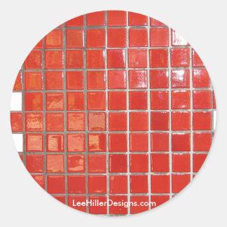 Las aguas termales, rojo de AR tejan los regalos Pegatinas Redondas