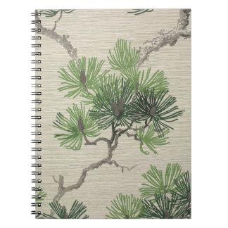Las agujas del pino y el cono del pino wallpaper,  spiral notebooks