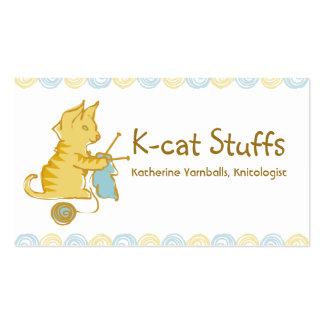 las agujas que hacen punto del gato del gatito tarjetas de visita
