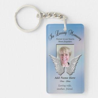 Las alas conmemorativas de encargo del ángel llavero rectangular acrílico a doble cara