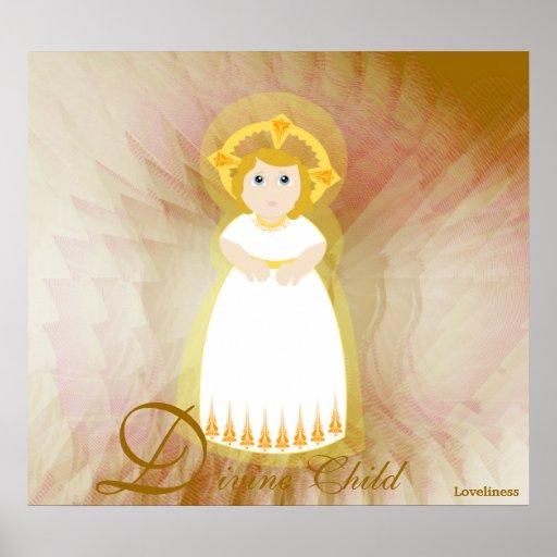 Las alas del ángel blanco del niño del amor divino poster