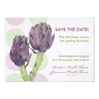 Las alcachofas púrpuras ahorran la invitación de
