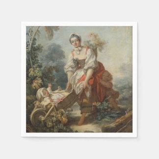 Las alegrías de la maternidad por Fragonard Servilleta De Papel